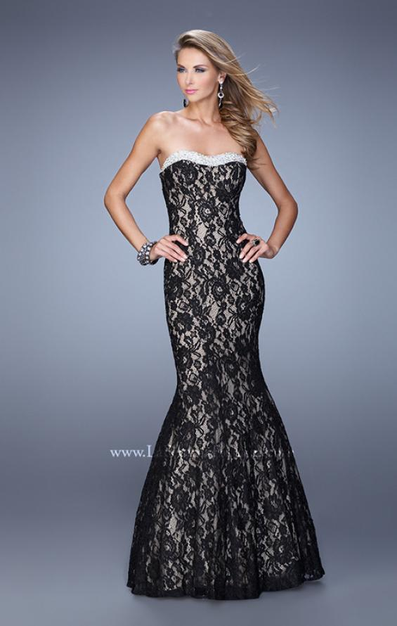 Picture of: Long Lace Mermaid Gown with Pearls and Rhinestones, Style: 21034, Detail Picture 3