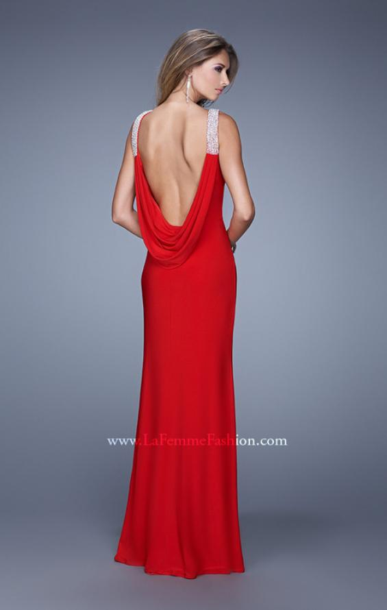 Picture of: Chic Dress with Rhinestone Straps and Scoop Back in Red, Style: 21045, Back Picture