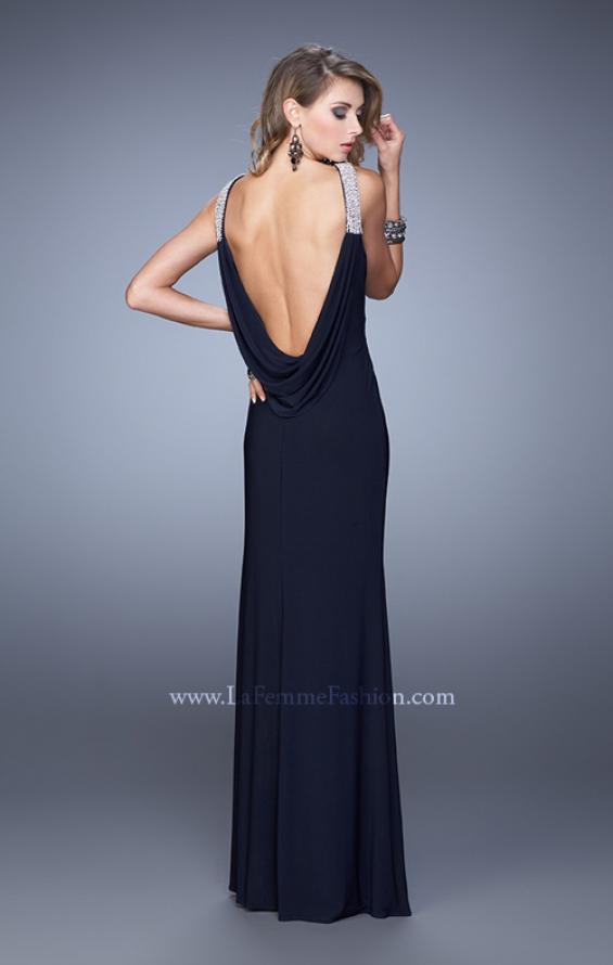 Picture of: Chic Dress with Rhinestone Straps and Scoop Back in Black, Style: 21045, Detail Picture 1