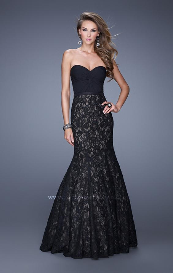 Picture of: Lace Mermaid Gown with Twisted Knot Detail in Black, Style: 21046, Main Picture