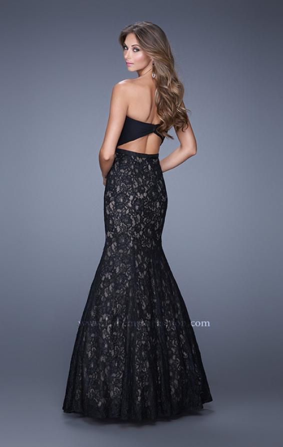 Picture of: Lace Mermaid Gown with Twisted Knot Detail in Black, Style: 21046, Back Picture
