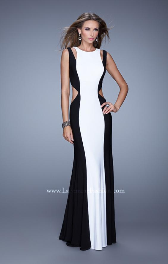 Picture of: Jersey Prom Dress with Modest Neckline and Pearls in Black White, Style: 21049, Main Picture