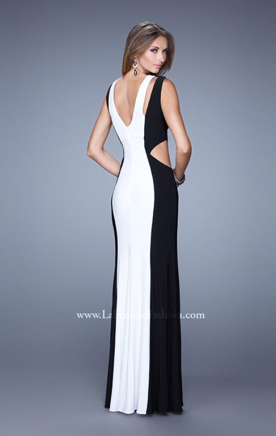 Picture of: Jersey Prom Dress with Modest Neckline and Pearls in Black White, Style: 21049, Back Picture