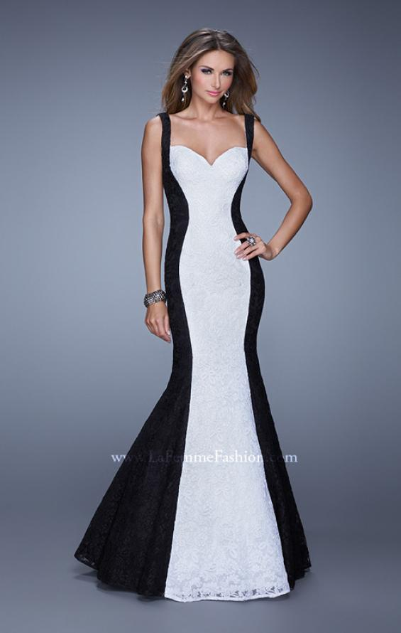 Picture of: Long Chic Sleeveless Gown with Lace Panels, Style: 21052, Main Picture
