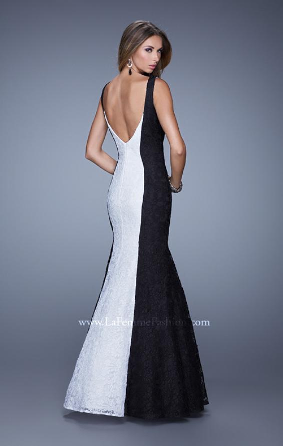 Picture of: Long Chic Sleeveless Gown with Lace Panels, Style: 21052, Back Picture