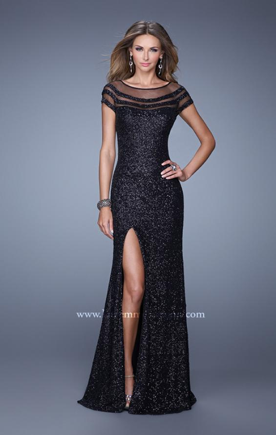 Picture of: Sultry Sequin Prom Dress with Cap Sleeves and Slit, Style: 21058, Main Picture