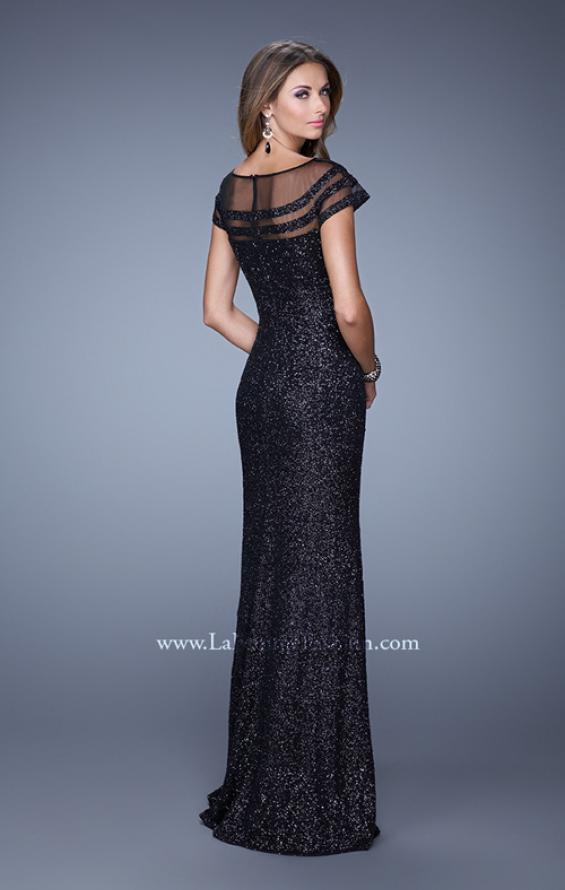 Picture of: Sultry Sequin Prom Dress with Cap Sleeves and Slit, Style: 21058, Back Picture