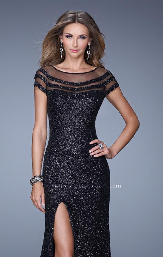 Picture of: Sultry Sequin Prom Dress with Cap Sleeves and Slit, Style: 21058, Detail Picture 1