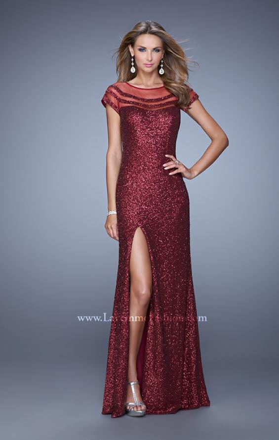 Picture of: Sultry Sequin Prom Dress with Cap Sleeves and Slit, Style: 21058, Detail Picture 2