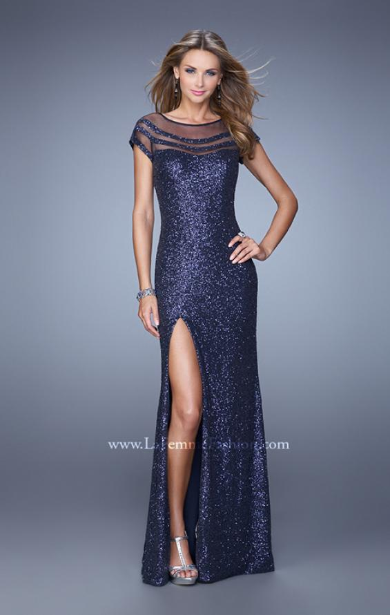 Picture of: Sultry Sequin Prom Dress with Cap Sleeves and Slit, Style: 21058, Detail Picture 3