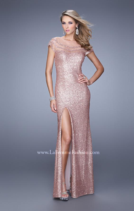Picture of: Sultry Sequin Prom Dress with Cap Sleeves and Slit, Style: 21058, Detail Picture 4