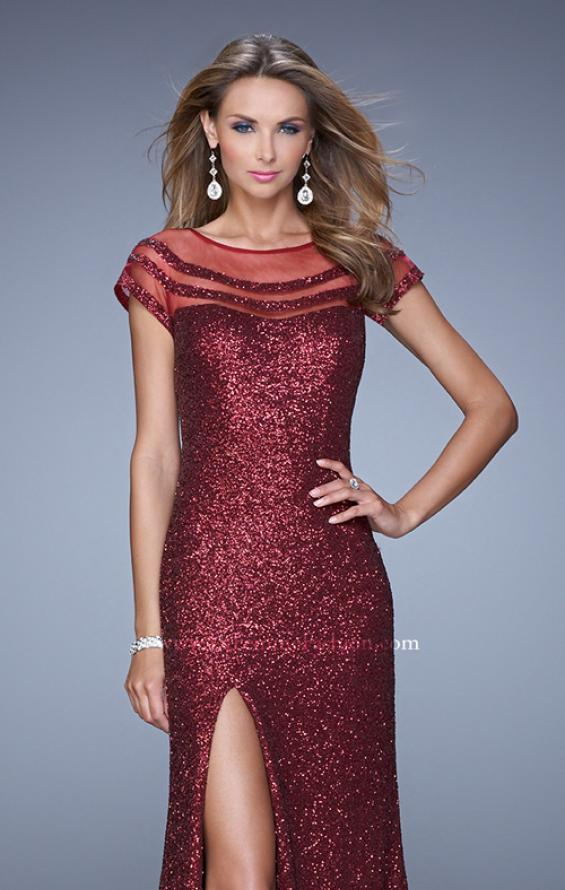 Picture of: Sultry Sequin Prom Dress with Cap Sleeves and Slit, Style: 21058, Detail Picture 5