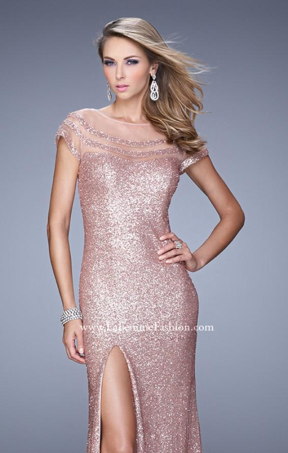 Picture of: Sultry Sequin Prom Dress with Cap Sleeves and Slit, Style: 21058, Detail Picture 7