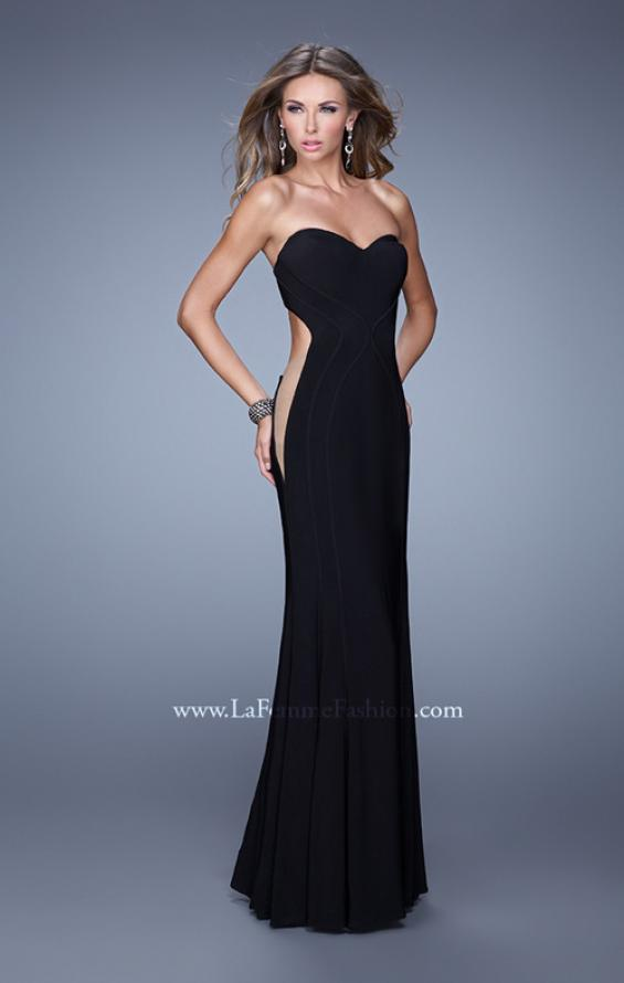 Picture of: Bold Long Prom Dress with Figure Flattering Piping in Black, Style: 21063, Main Picture