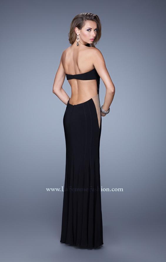 Picture of: Bold Long Prom Dress with Figure Flattering Piping in Black, Style: 21063, Back Picture