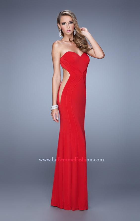 Picture of: Bold Long Prom Dress with Figure Flattering Piping in Red, Style: 21063, Detail Picture 1