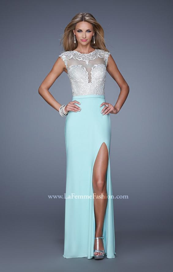 Picture of: Long Jersey Prom Gown with Embroidery Accents in Mint, Style: 21065, Main Picture