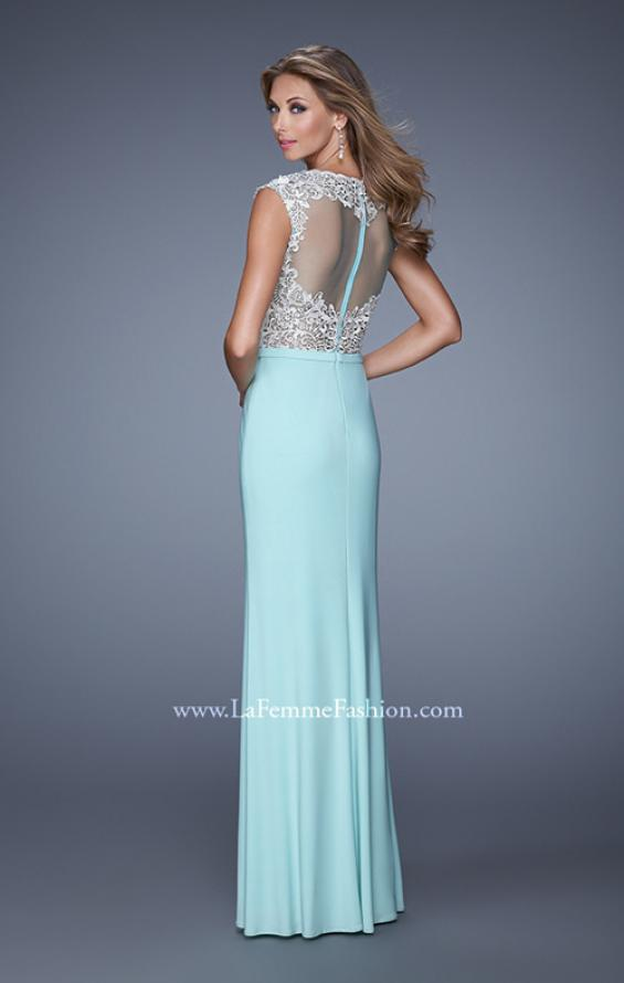 Picture of: Long Jersey Prom Gown with Embroidery Accents in Mint, Style: 21065, Back Picture