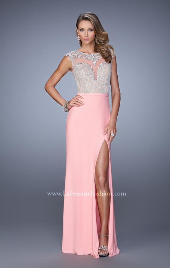 Picture of: Long Jersey Prom Gown with Embroidery Accents in Pink, Style: 21065, Detail Picture 2