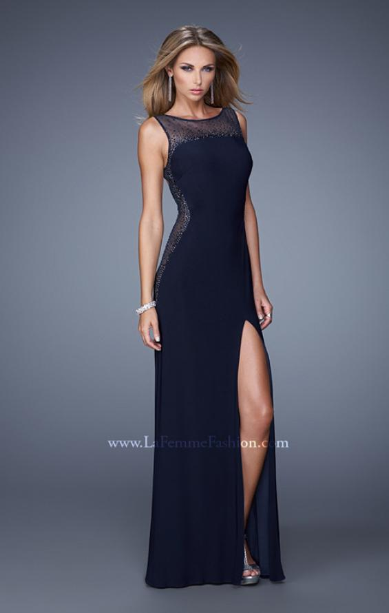 Picture of: Glam Long Jersey Dress with Sheer Neckline and Stones, Style: 21069, Main Picture
