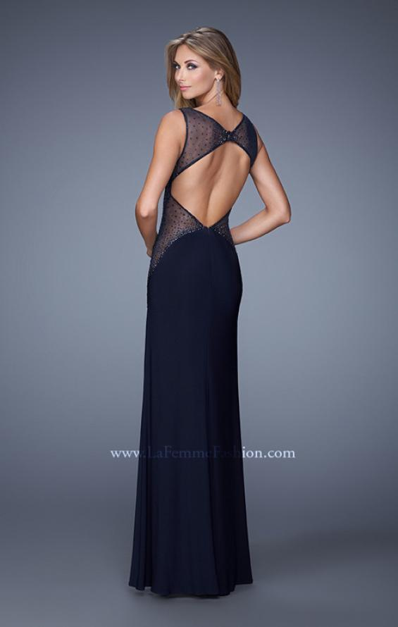 Picture of: Glam Long Jersey Dress with Sheer Neckline and Stones, Style: 21069, Back Picture