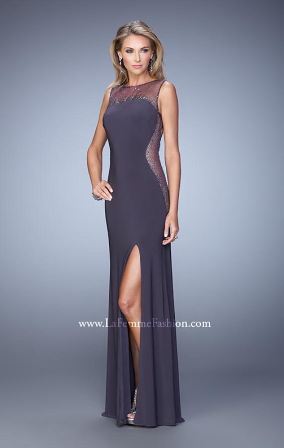 Picture of: Glam Long Jersey Dress with Sheer Neckline and Stones, Style: 21069, Detail Picture 1