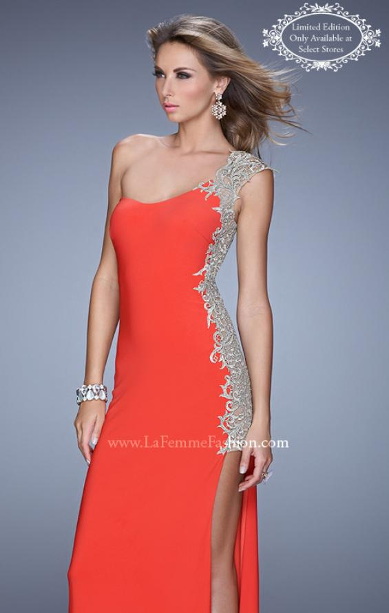 Picture of: One Shoulder Prom Gown with Metallic Embroidery in Red, Style: 21076, Main Picture