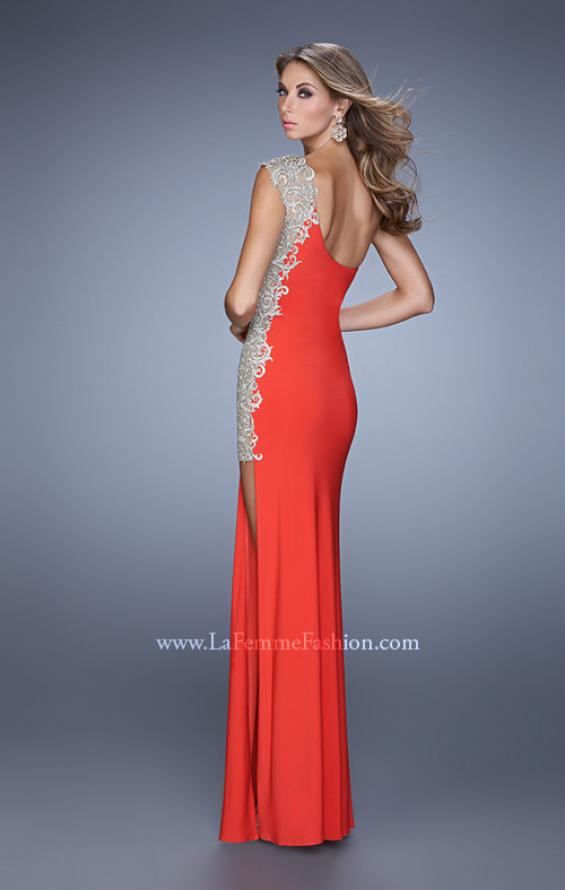 Picture of: One Shoulder Prom Gown with Metallic Embroidery in Red, Style: 21076, Back Picture