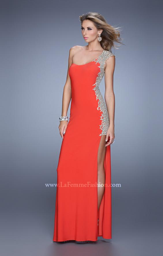 Picture of: One Shoulder Prom Gown with Metallic Embroidery in Red, Style: 21076, Detail Picture 1