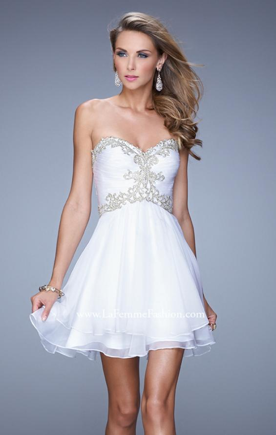 Picture of: Fun Cocktail Dress with Tiered Skirt and Ruched Bodice, Style:  21081