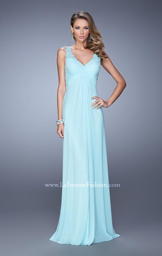 Picture of: Embellished Long Prom Gown with Ruched Bodice, Style: 21084, Detail Picture 1