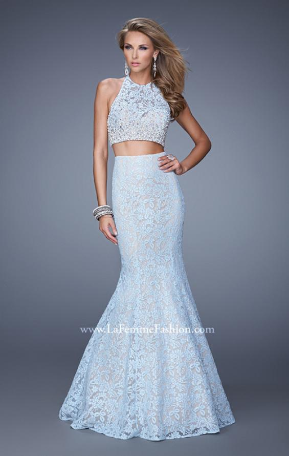 Picture of: Glam Two Piece Halter Lace Dress with Pearl Detail in Blue, Style: 21087, Main Picture