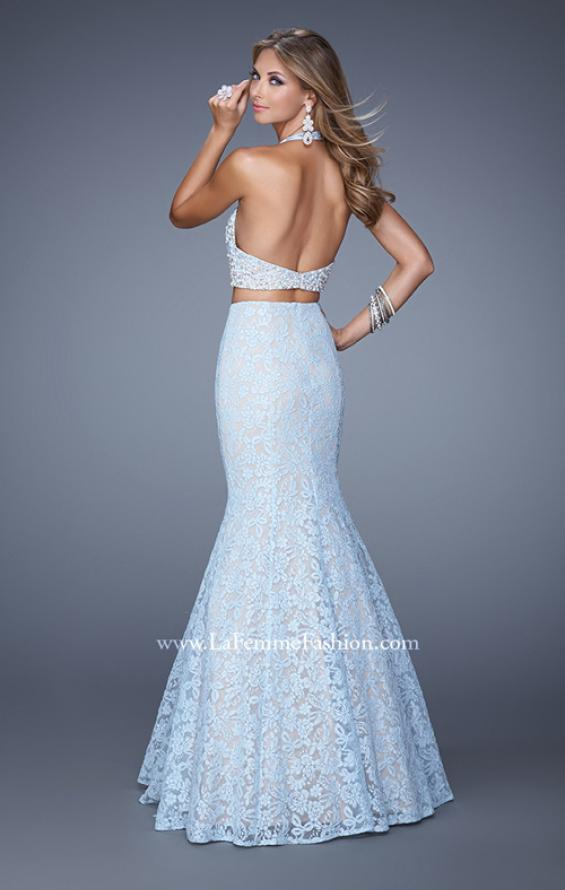 Picture of: Glam Two Piece Halter Lace Dress with Pearl Detail in Blue, Style: 21087, Back Picture