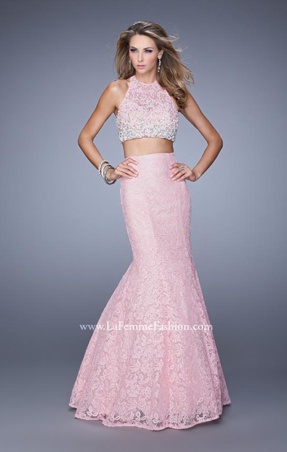 Picture of: Glam Two Piece Halter Lace Dress with Pearl Detail in Pink, Style: 21087, Detail Picture 1