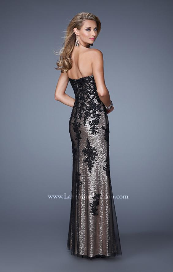 Picture of: Strapless Sequin Prom Dress with Lace Appliques, Style: 21088, Back Picture