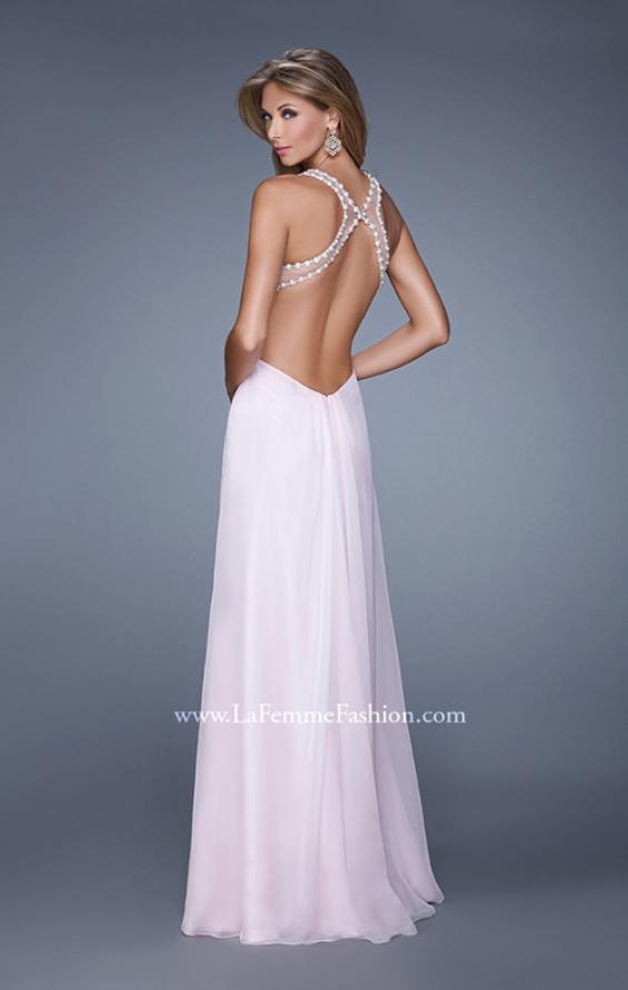 Picture of: Long Halter Prom Dress with Cut Outs and Open Back, Style: 21090, Back Picture