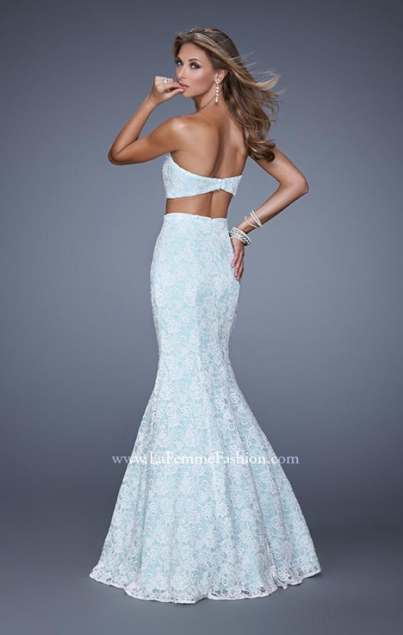 Picture of: Lace Two Piece Prom Dress with Mermaid Skirt in Blue, Style: 21096, Back Picture