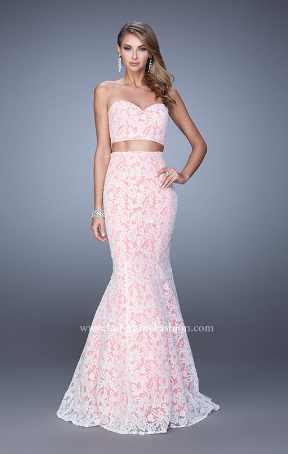 Picture of: Lace Two Piece Prom Dress with Mermaid Skirt in Pink, Style: 21096, Detail Picture 1