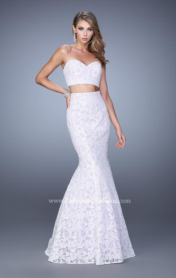 Picture of: Lace Two Piece Prom Dress with Mermaid Skirt in White, Style: 21096, Detail Picture 2
