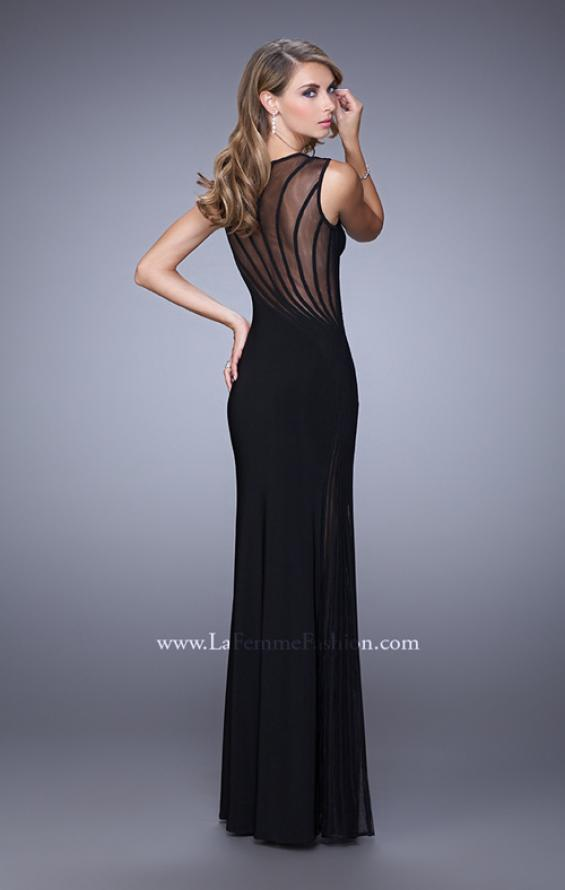 Picture of: Sleeveless Prom Dress with Sheer Neckline and Piping in Black, Style: 21097, Back Picture