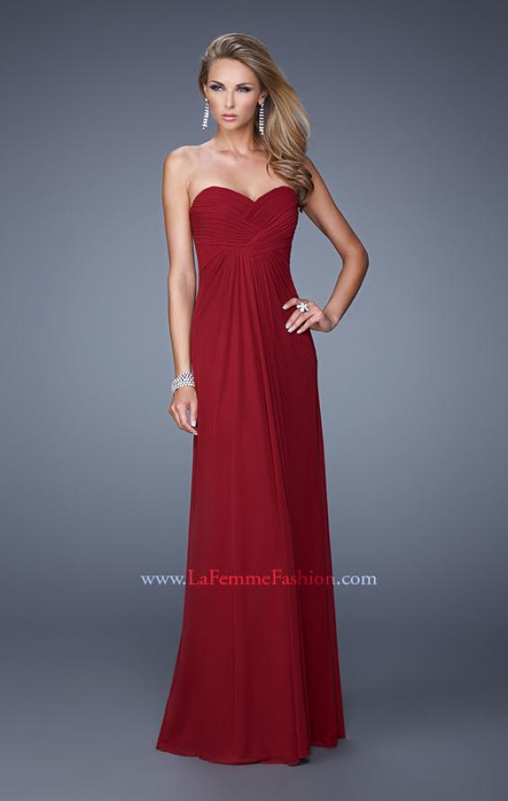 Picture of: Graceful Long Prom Dress with Crisscross Gathered Bodice in Red, Style: 21103, Main Picture