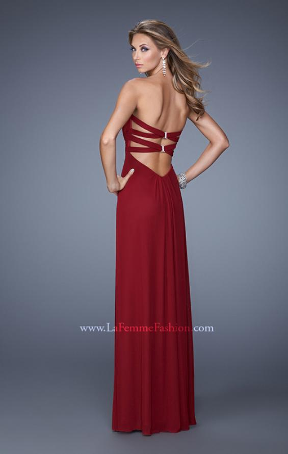 Picture of: Graceful Long Prom Dress with Crisscross Gathered Bodice in Red, Style: 21103, Back Picture