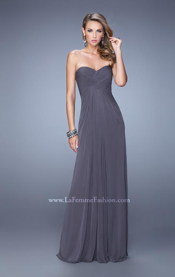 Picture of: Graceful Long Prom Dress with Crisscross Gathered Bodice in Gray, Style: 21103, Detail Picture 1
