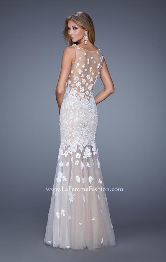 Picture of: Long Lace Prom Dress with Sheer Tulle Skirt and Lace in White, Style: 21105, Back Picture