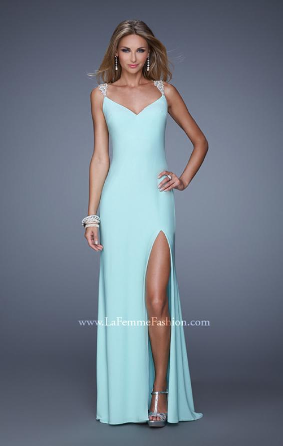 Picture of: Sultry Long Jersey Prom Dress with Beading and Slit, Style: 21111, Back Picture