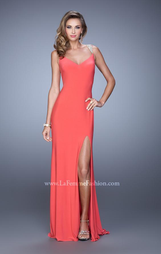 Picture of: Sultry Long Jersey Prom Dress with Beading and Slit, Style: 21111, Detail Picture 5