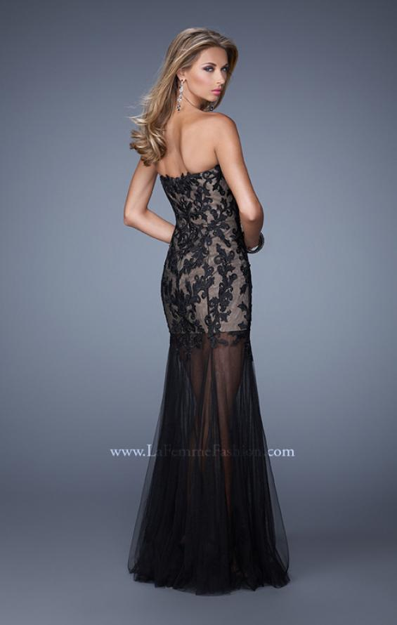 Picture of: Bold Tulle Dress with Sweetheart Neck and Sheer Skirt in Black, Style: 21114, Back Picture