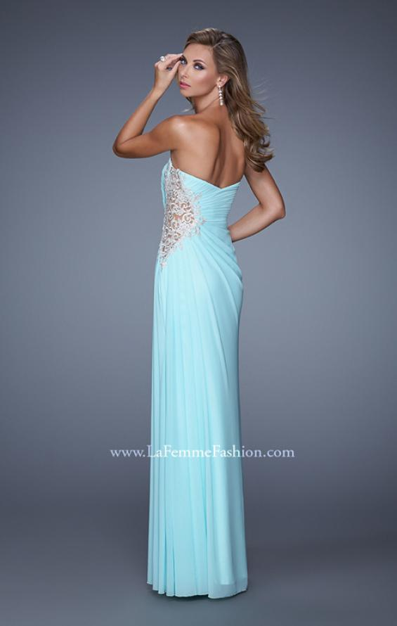 Picture of: Glam Prom Dress with Sheer Cut Outs and Embroidery, Style: 21115, Back Picture