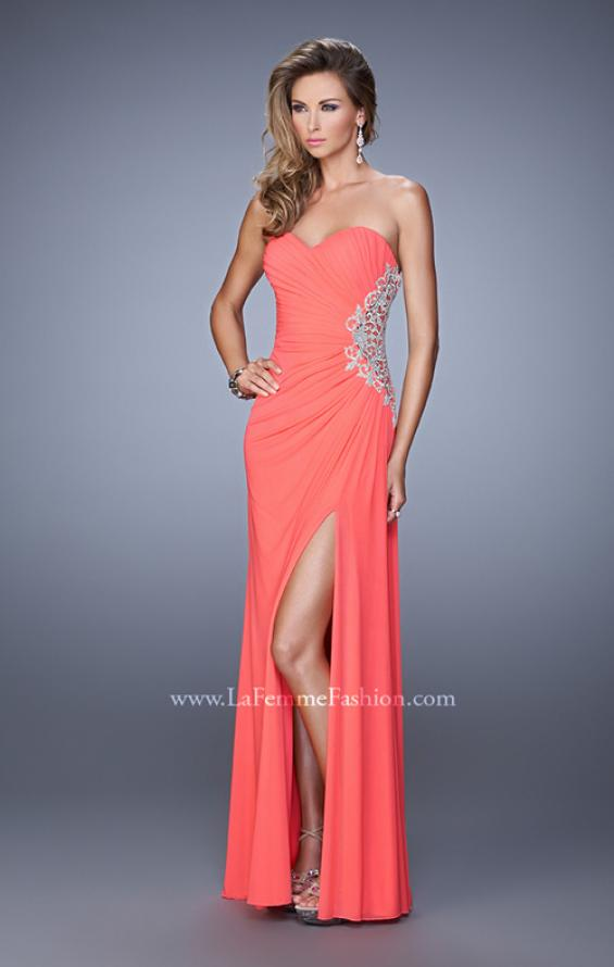 Picture of: Glam Prom Dress with Sheer Cut Outs and Embroidery, Style: 21115, Detail Picture 1