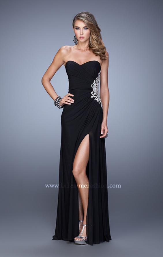 Picture of: Glam Prom Dress with Sheer Cut Outs and Embroidery, Style: 21115, Detail Picture 2